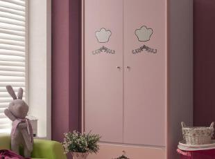可爱衣柜 粉红色 两门衣柜 田园 时尚 小孩家具 公主家具 1.2米宽,收纳柜,