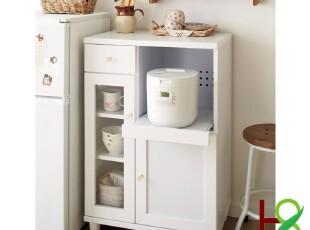 华森家具 实木餐边柜 碗柜 电器柜 白色厨房实木家具 HS-0093,收纳柜,