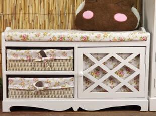 坡上原岗 韩式田园家具可爱时尚实木换鞋凳梳妆凳鞋架 收纳凳床尾,收纳柜,