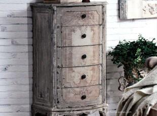 米子家居 仿古印花杉木做旧五层柜子,收纳柜,
