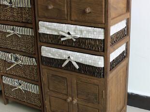 新款加宽碳化实木收纳柜 卧室小书柜 藤编储藏柜子 床头柜,收纳柜,