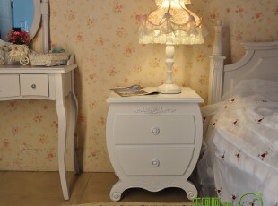 床边柜 田园 储物柜 斗柜 实木 现代 床头柜 烤漆象牙白 欧式现代,收纳柜,