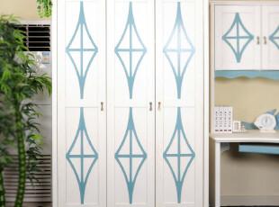 梦舍 地中海风格家具 实木整体衣柜 三门衣柜FBT_MW6-3,收纳柜,