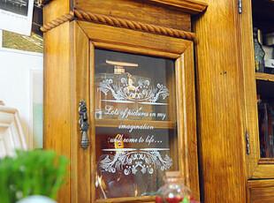 zakka 复古吊脚双层玻璃门柜 两层 香水柜 做旧 木质 收纳柜 盒,收纳柜,