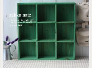 zakka杂货 田园绿色9格收纳盒 九格置物架/吊柜 分类收纳整理,收纳柜,