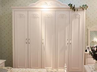 紫藤郡英式庄园雕花实木衣柜欧式田园衣橱白色家具23456门,收纳柜,