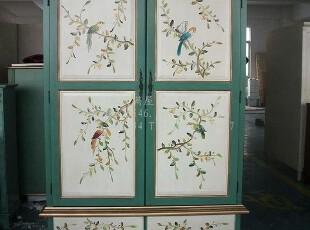浪漫满屋/出口/欧美仿古彩绘/地中海做旧手绘花鸟/卧房组两门衣柜,收纳柜,
