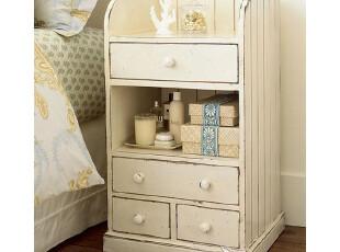 艾米尼奥地中海家具书房实木储物边几床头柜可做旧Y0249,收纳柜,