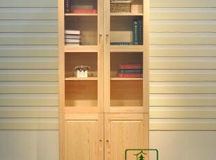 书柜 两门书柜 全实木书柜 松木书柜 书房套 组合书柜,收纳柜,