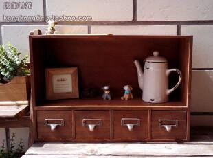 横款 四抽屉 木柜 收纳柜 书柜 桌上柜 木盒 zakka,收纳柜,