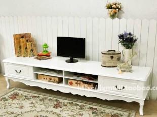 韩式实木纯白色/象牙白 2.2米M 客厅视听柜电视柜地柜欧式地中海,收纳柜,
