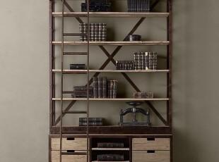 出口外贸工业LOFT风格铁艺带梯书柜展示柜/阁楼仿古家具/现货,收纳柜,