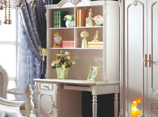 法丽莎家具G1 法式 家具组合书台 法式实木写字台连体书桌 特价,收纳柜,