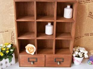 木质zakka复古 创意收纳柜 九格二抽屉收纳盒木制储物箱大码,收纳柜,