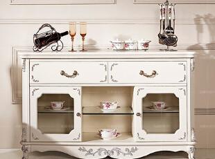 摩登生活 欧式储物橱柜备餐柜 田园餐边柜烤漆实木特价家具包邮,收纳柜,
