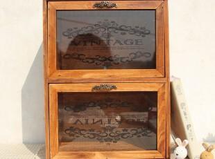 zakka 实木 复古 玻璃面两抽屉 针线 首饰盒收纳盒/柜 储物柜子,收纳柜,