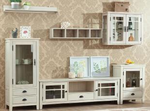 榆木疙瘩 全实木 简欧风格 组合电视柜(不含吊柜)  黑白原木3色,收纳柜,