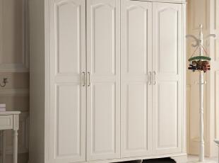实木家具 韩式白色田园 YG902A四门衣柜 2米衣橱,收纳柜,