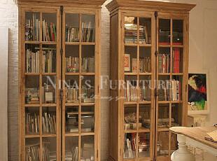 Nina出口法国家具 外贸乡村 仿古锁2门书柜 陈列柜 疯狂特价,收纳柜,