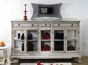 【汉资 东方情怀】五门餐边柜 实木做旧 玻璃装饰 储物,收纳柜,