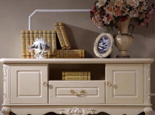公信王府 欧式实木小电视柜 1.3米实木电视柜 欧式白色小电视柜,收纳柜,
