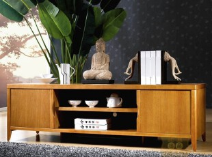 正宜家居 榆木家具 东南亚风格 实木家具 地柜 1.6米电视柜JY003F,收纳柜,