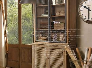 帕古达经典咖啡实木家具/美法式乡村农庄/铁框玻璃白橡木书架书柜,收纳柜,