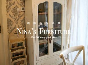 Nina出口欧洲家具 外贸仿古乡村玻璃开门书柜 储藏柜 收纳柜,收纳柜,