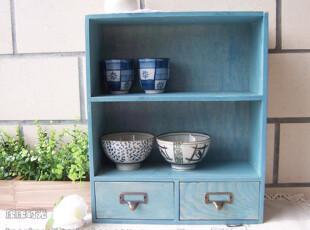 蓝色 2层 2木抽屉 铜制牛鼻扣拉手 小柜 桌上柜 怀旧 zakka,收纳柜,