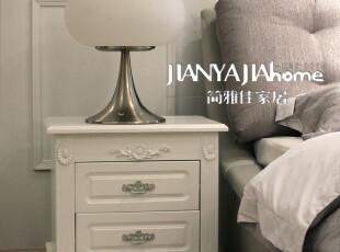韩式 田园 简约 白色 雕花 床头柜 地柜 时尚边柜 地柜 2053,收纳柜,