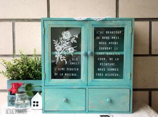 蓝色 双开门 小柜 桌上柜 收纳柜 木柜 挂橱 2层 抽屉 zakka,收纳柜,