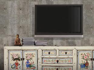 【东游记.出口家具】新中式 古典白色多屉多门描花电视柜/边柜,收纳柜,