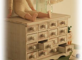 日式杂货。复古田园。自然风。16格。旧木。收纳小柜。白。,收纳柜,