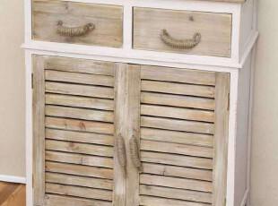 ZAKKA美式乡村实木做旧风格百叶双门柜斗柜小型木制衣柜床边柜特,收纳柜,