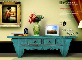 地中海 美式乡村风格做旧电视柜实木做旧电视柜 美克美家实木定制,收纳柜,
