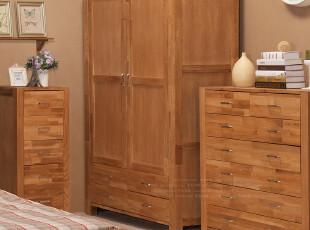 【家具精品馆】抢先体验 宜家乡村田园实木橡木环保/2门4抽大衣柜,收纳柜,