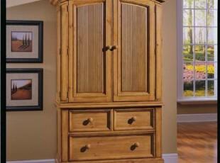 实木衣柜 100%实木大衣柜田园卧室家具 两门大衣柜,收纳柜,