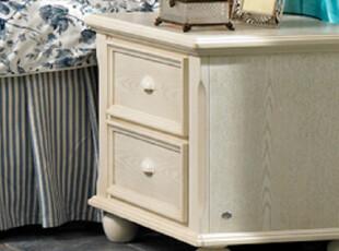 华日家居实木美式卧房床头柜仿古白特惠正品华日家具,收纳柜,