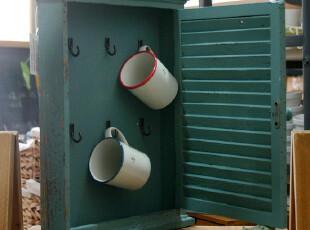 【山鱼良品】地中海风 旧蓝色 木制挂件百叶小柜,收纳柜,