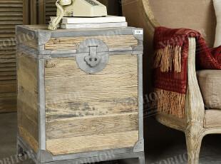帕古达经典咖啡实木家具/美式乡村/回收老榆木铁艺箱/床头柜边几,收纳柜,