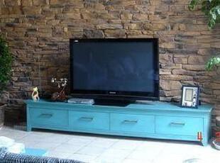 地中海风格 纯实木现代 简约时尚电视柜 蓝色抽屉电视柜【预定】,收纳柜,