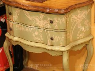 法式乡村风格 出口订单做旧绿色手绘花草纹床头柜 边柜 电话柜,收纳柜,