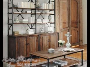 四钻信誉 欧洲高品质橡木四门铁架书柜 家居多功能陈列柜 预订,收纳柜,