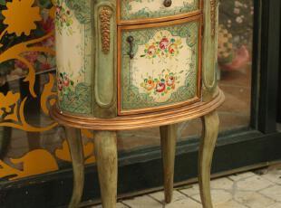 手绘边桌边柜咖啡桌床头柜边几 复古欧式怀旧老家具,收纳柜,