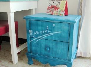 全实木床头柜 床头柜 边柜 地中海家具 定制 做旧 彩色收纳柜特价,收纳柜,