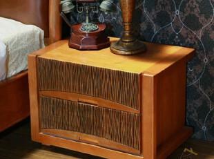 正宜家居 高档实木套间东南亚风格 楸木家具 实木床头柜ZYD006,收纳柜,