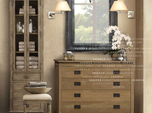 北欧表情/帕古达经典咖啡实木家具/美法式乡村/白橡木铁艺边柜,收纳柜,
