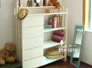 地中海家具 实木手工 白色书柜+斗柜置物组合柜00,收纳柜,