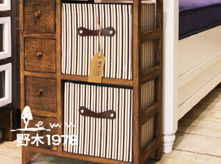 实木+二抽布艺床头柜/收纳柜/储物柜/古典柜子【6-8天发】,收纳柜,