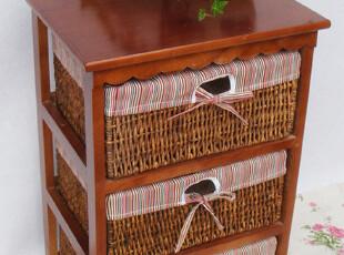 江南藤艺 2皇冠 精品实木柜 简约抽屉柜 超值三斗收纳柜 床头柜,收纳柜,